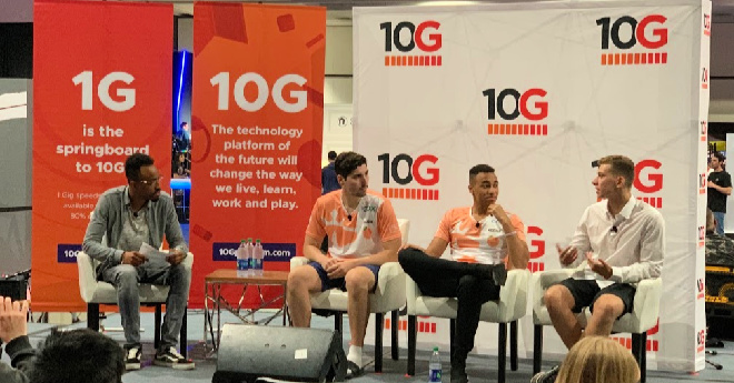 Atlanta Reign players, Gator and Kodak, and coach, Casores, speak on a panel moderated by Malik Forte at ESA's E3 2019.